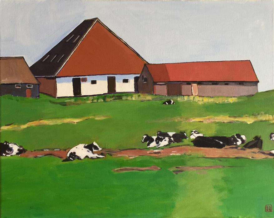 Discover Original Art by Laura (Yi Zhen) Chen | Farmhouse with Cows acrylic painting | Art for Sale Online at UGallery