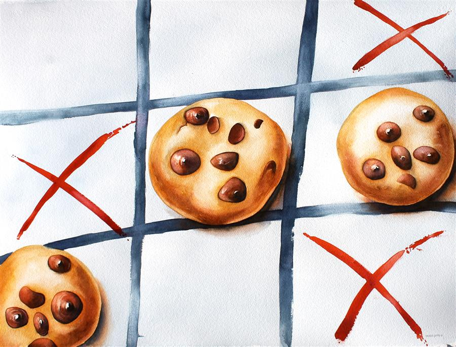 Discover Original Art by Dwight Smith | Tic Tac Dough watercolor painting | Art for Sale Online at UGallery