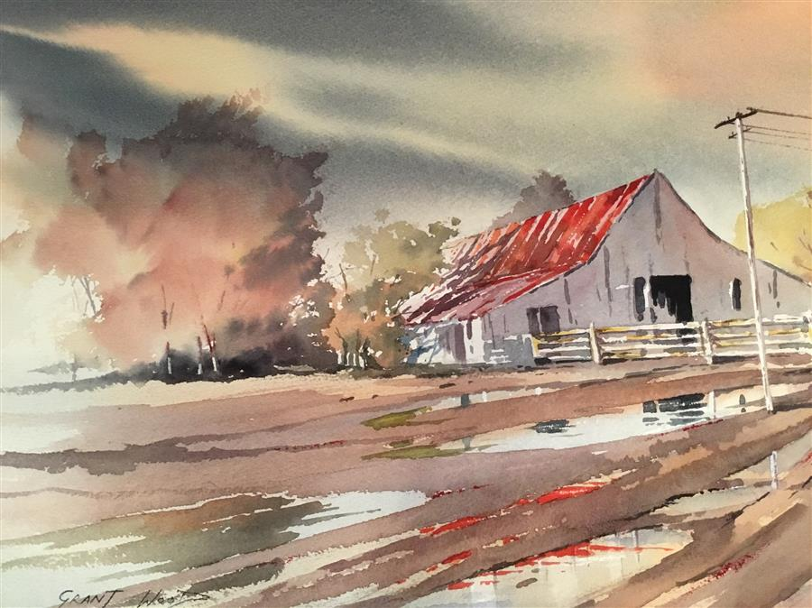 Discover Original Art by Grant Wood | Barn after the Storm watercolor painting | Art for Sale Online at UGallery