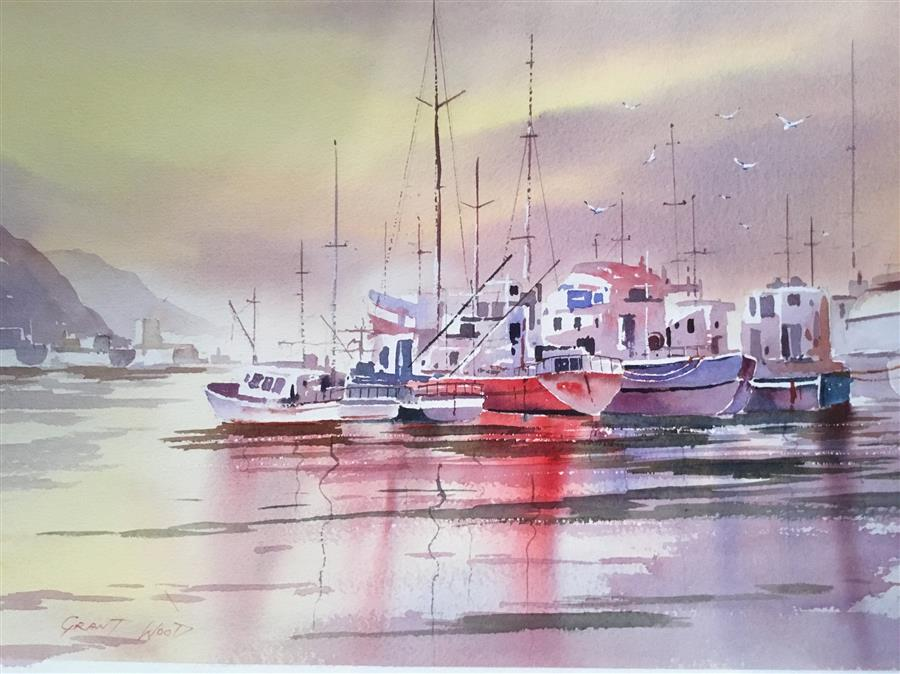 Discover Original Art by Grant Wood | Boats in the Harbour watercolor painting | Art for Sale Online at UGallery