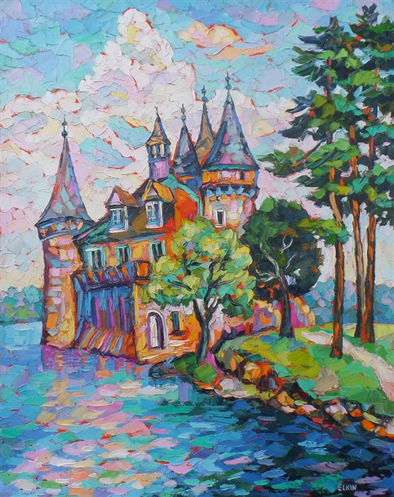 Discover Original Art by Elizabeth Elkin | Boldt Castle oil painting | Art for Sale Online at UGallery