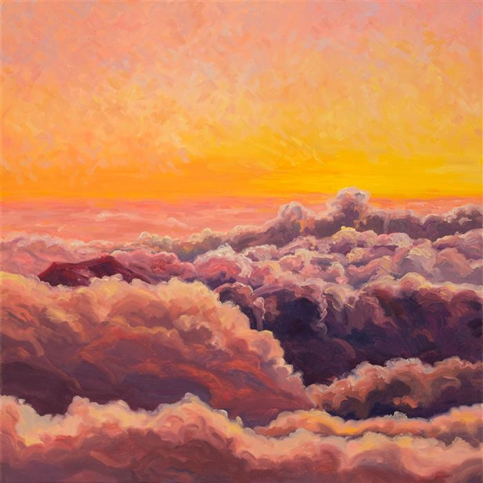 Discover Original Art by Karen E Lewis | Haleakala Sunrise Cloudpour oil painting | Art for Sale Online at UGallery