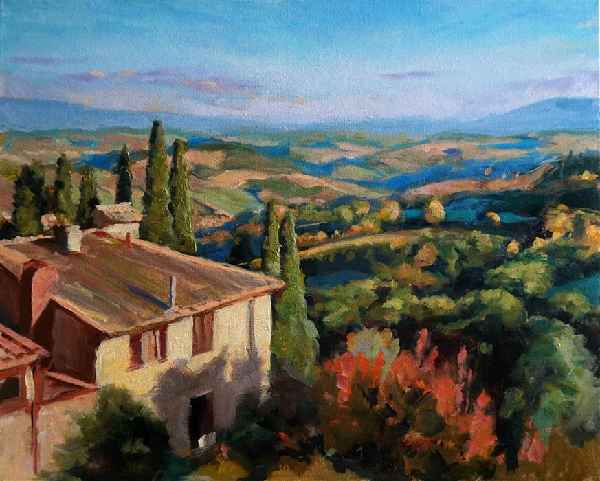 Discover Original Art by Jonelle Summerfield | View from San Gimignano III oil painting | Art for Sale Online at UGallery
