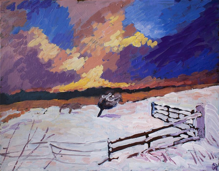 Discover Original Art by Robert Hofherr | December Sky acrylic painting | Art for Sale Online at UGallery