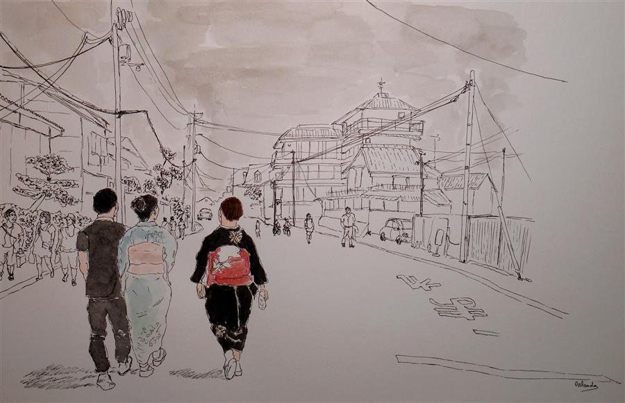 Discover Original Art by Orlando Marin-Lopez | Kimonos in Kyoto 2 ink artwork | Art for Sale Online at UGallery
