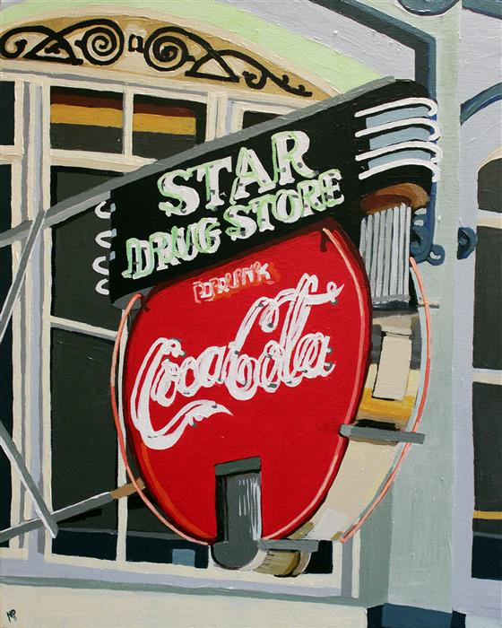 Discover Original Art by Melinda Patrick | Star Drug Store acrylic painting | Art for Sale Online at UGallery