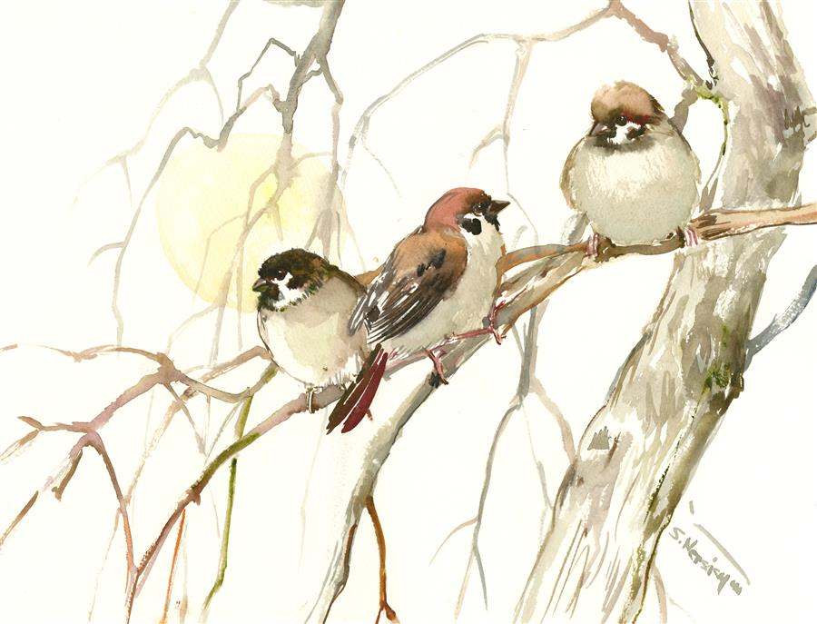 Discover Original Art by Suren Nersisyan | Sun and Sparrows watercolor painting | Art for Sale Online at UGallery