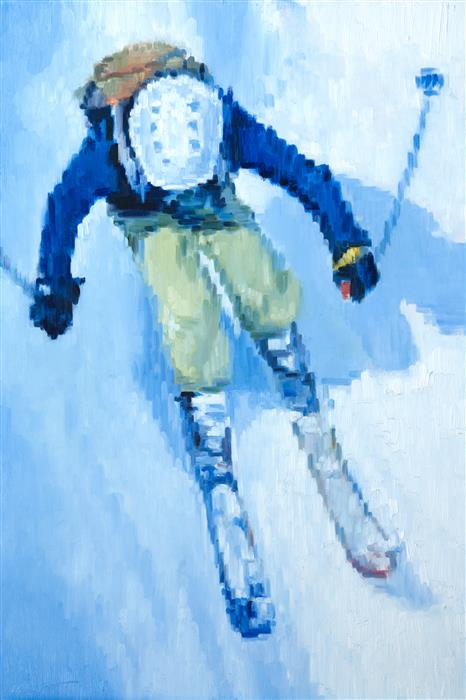 Discover Original Art by Warren Keating | Downhill oil painting | Art for Sale Online at UGallery