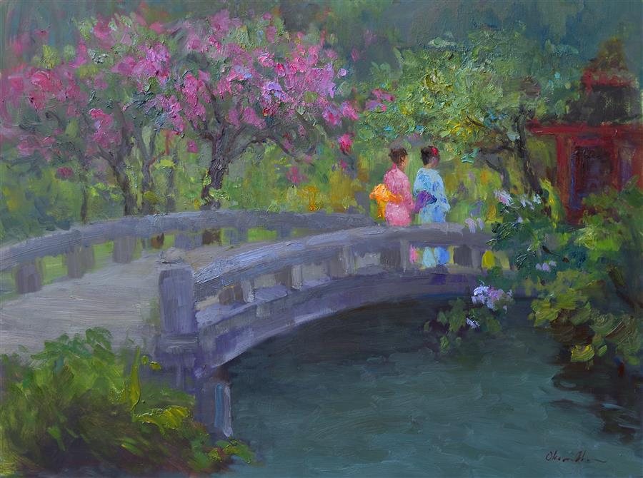 Discover Original Art by Oksana Johnson | On the Bridge oil painting | Art for Sale Online at UGallery