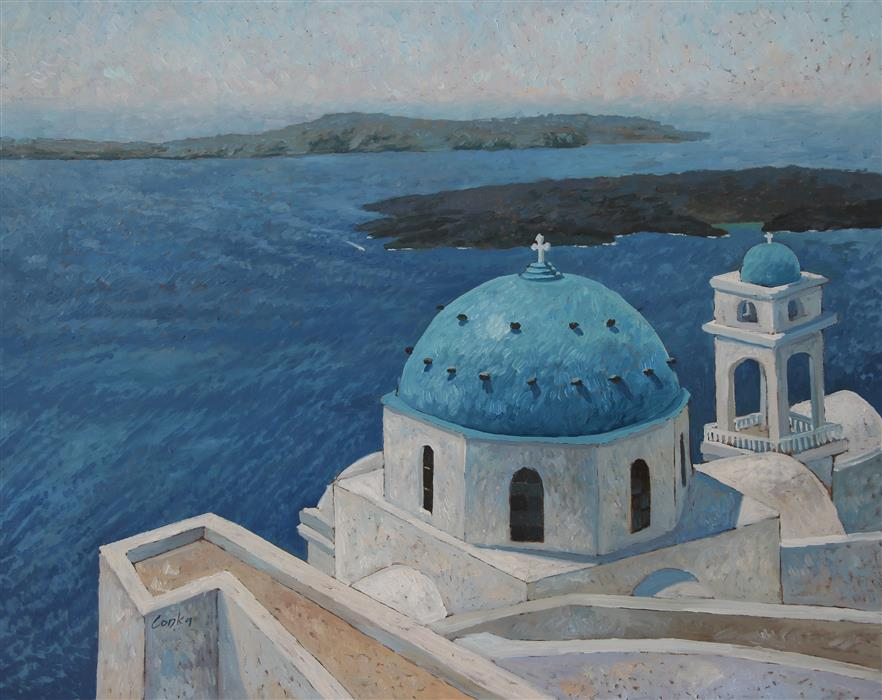 Discover Original Art by Stefan Conka | Santorini oil painting | Art for Sale Online at UGallery