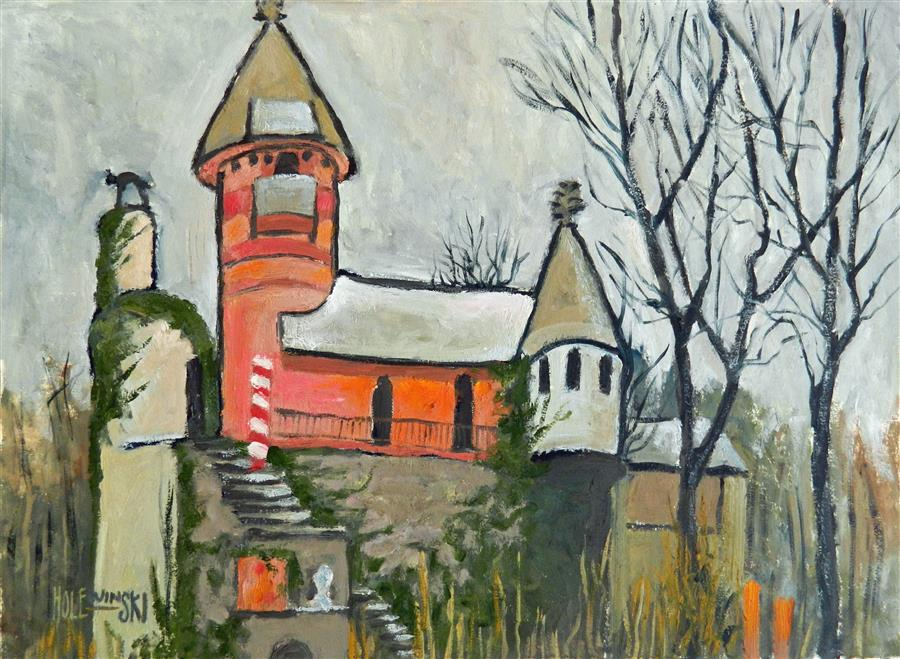 Discover Original Art by Robert  Holewinski | Gingerbread Castle Ruins oil painting | Art for Sale Online at UGallery