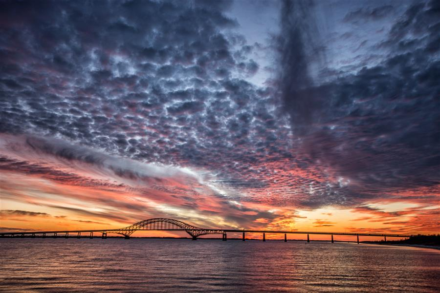 Original art for sale at UGallery.com | Fire Island Inlet Bridge after Sunset by MICHAEL BUSCH | $245 |  | ' h x ' w | \art\photography-Fire-Island-Inlet-Bridge-after-Sunset