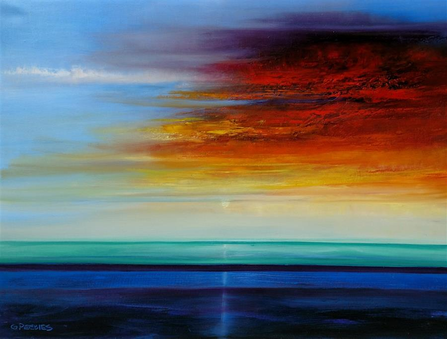 Discover Original Art by George Peebles | Evening Sky oil painting | Art for Sale Online at UGallery