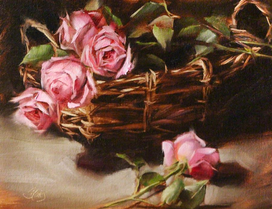 Discover Original Art by Pamela Blaies | Heirloom Roses oil painting | Art for Sale Online at UGallery