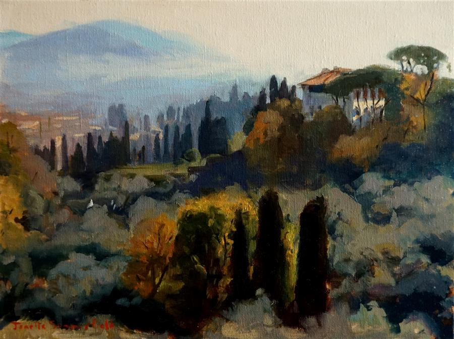 Discover Original Art by Jonelle Summerfield | Misty Morning in Tuscany oil painting | Art for Sale Online at UGallery