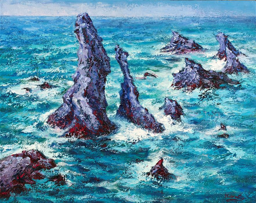 Discover Original Art by Stanislav Sidorov | Rocks At Belle-Ele oil painting | Art for Sale Online at UGallery