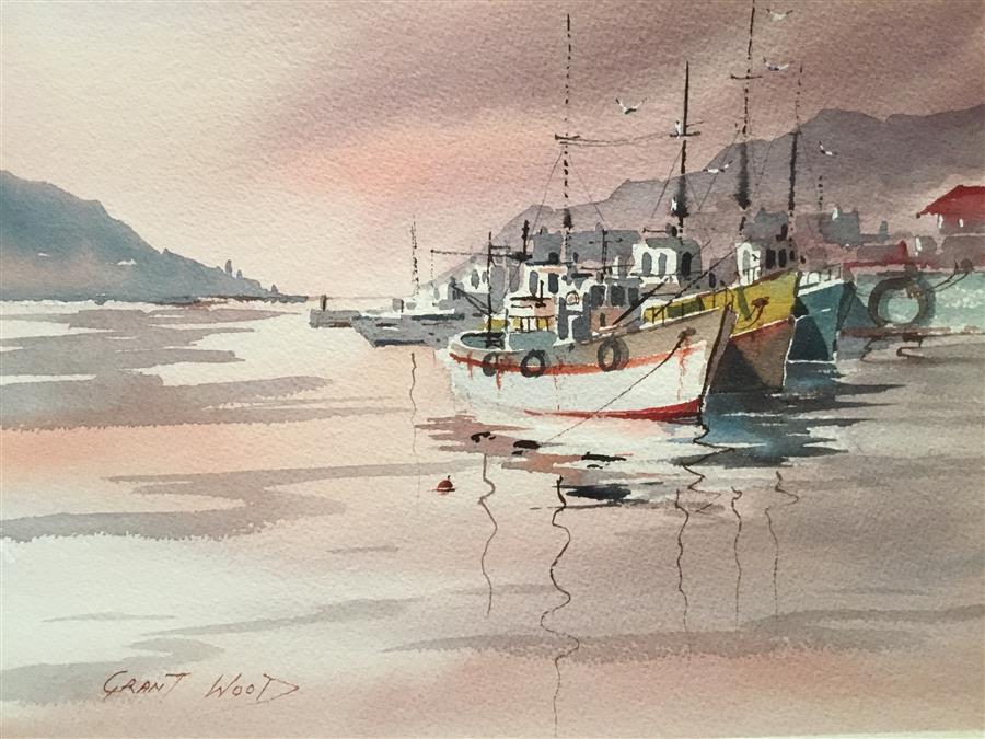Discover Original Art by Grant Wood | Cape Town Trawlers watercolor painting | Art for Sale Online at UGallery