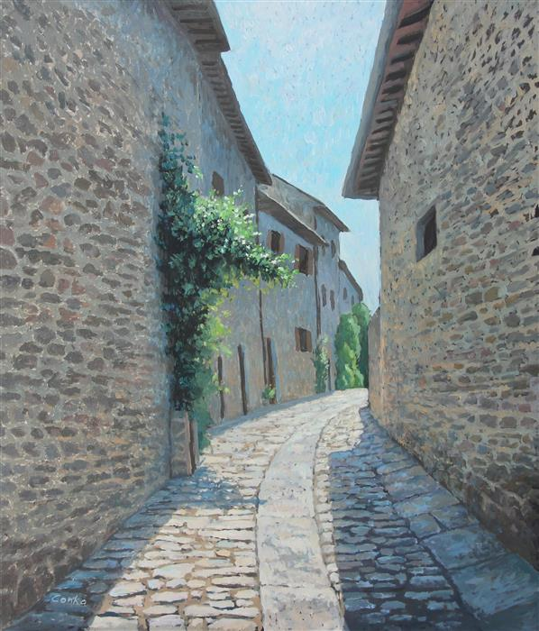 Discover Original Art by Stefan Conka | Street in Cortona Italy oil painting | Art for Sale Online at UGallery