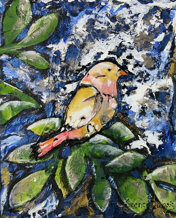 Discover Original Art by Clemence Dubois | Little Bird mixed media artwork | Art for Sale Online at UGallery