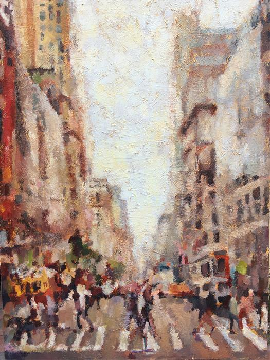 Discover Original Art by Nava Lundy | The Crosswalk  acrylic painting | Art for Sale Online at UGallery