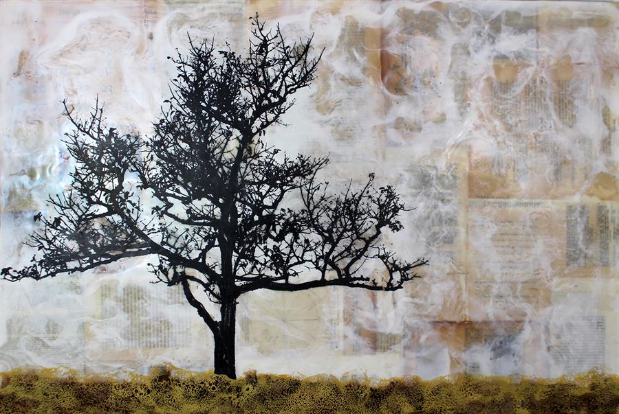 Discover Original Art by Shannon Amidon | Tree Poem encaustic artwork | Art for Sale Online at UGallery