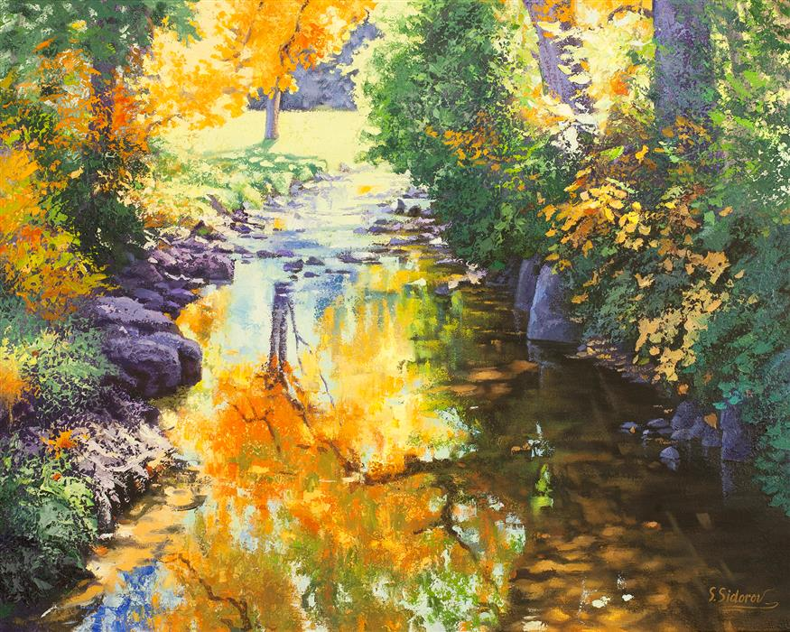 Discover Original Art by Stanislav Sidorov | Autumn Cherry Creek oil painting | Art for Sale Online at UGallery