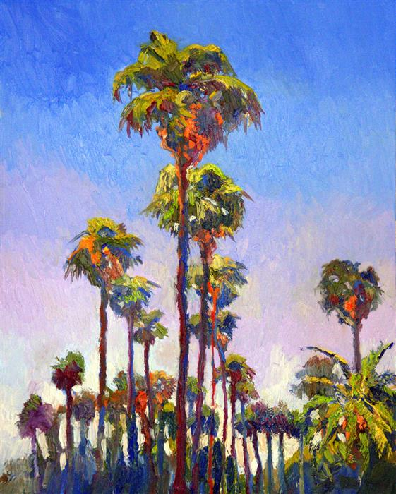 Discover Original Art by Suren Nersisyan | Palm Trees on The Street, (Hollywood, Sunny Day) oil painting | Art for Sale Online at UGallery