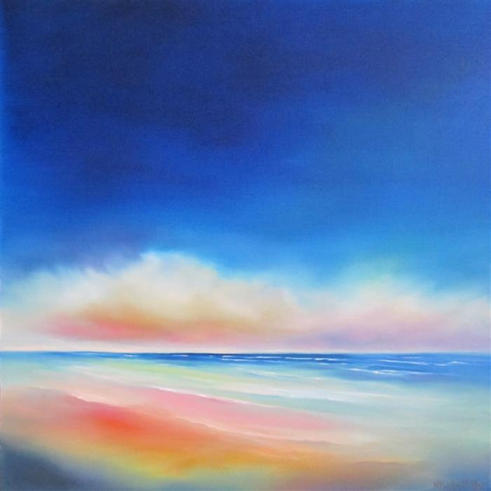 Discover Original Art by Nancy Hughes Miller | Bright Morning Beach oil painting | Art for Sale Online at UGallery