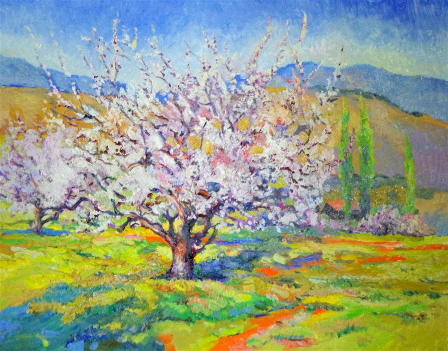 Discover Original Art by Suren Nersisyan | Blossom of Apricot Tree, Spring Landscape oil painting | Art for Sale Online at UGallery