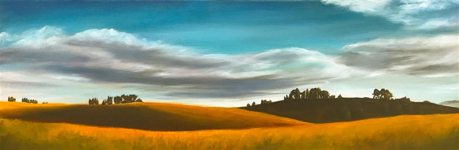 Discover Original Art by Mandy Main | Golden Hills XVI oil painting | Art for Sale Online at UGallery