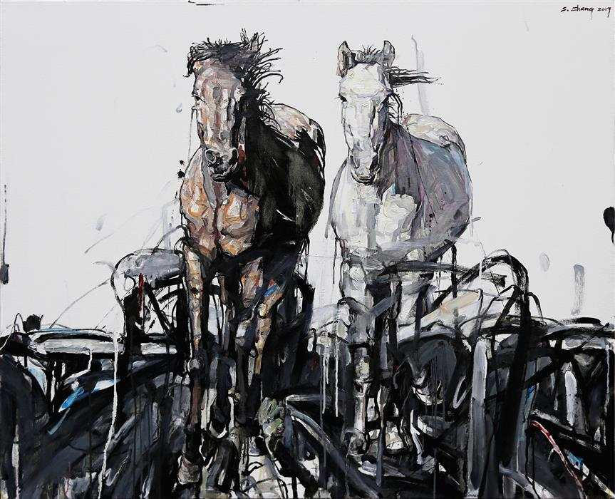 Discover Original Art by Shao Yuan Zhang | Stallions oil painting | Art for Sale Online at UGallery