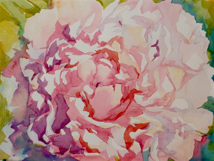 Discover Original Art by Jo Mackenzie | Peony Petals watercolor painting | Art for Sale Online at UGallery
