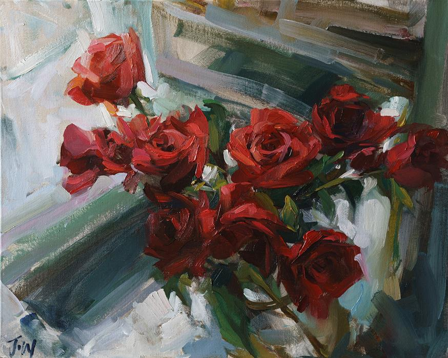 Discover Original Art by Jay Wong | Roses for Her oil painting | Art for Sale Online at UGallery