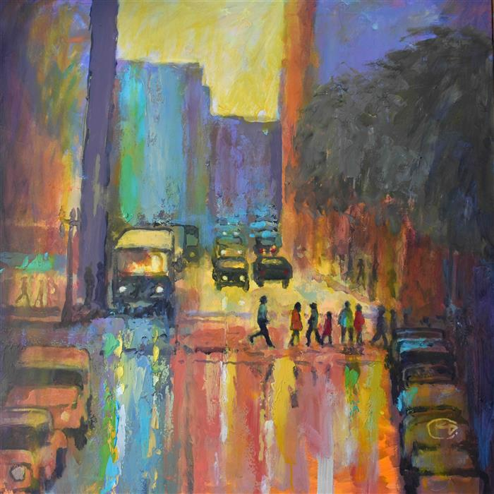 Discover Original Art by Kip Decker | City Crosswalk 2 acrylic painting | Art for Sale Online at UGallery