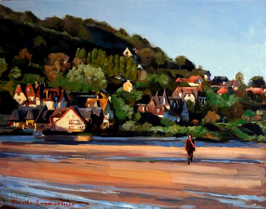 Discover Original Art by Jonelle Summerfield | Morning Walk on Deauville Beach oil painting | Art for Sale Online at UGallery