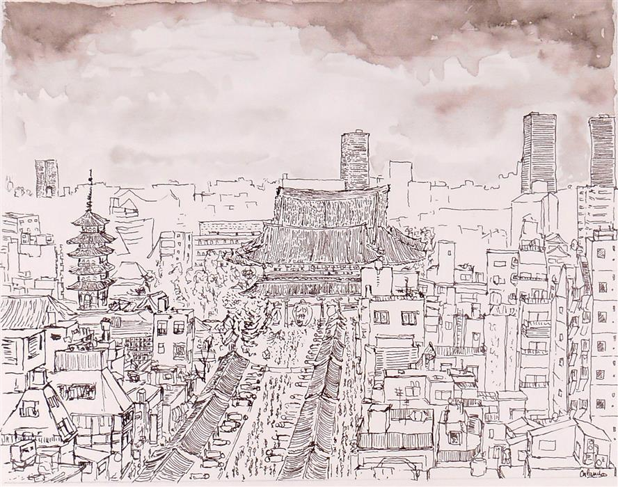 Discover Original Art by Orlando Marin-Lopez | Asakusa Temple, Tokyo ink artwork | Art for Sale Online at UGallery