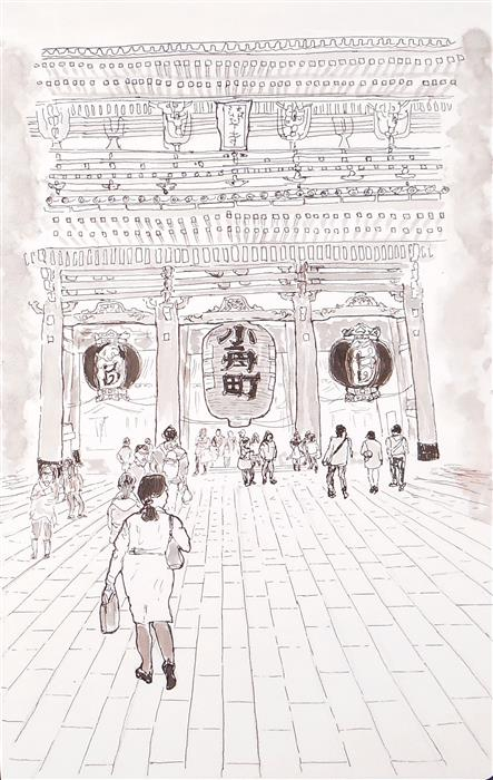 Discover Original Art by Orlando Marin-Lopez | Asakusa Temple Main Gate, Tokyo ink artwork | Art for Sale Online at UGallery