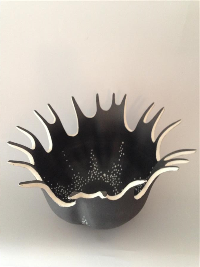 Discover Original Art by Eileen Braun | Black Splash Bowl ceramic artwork | Art for Sale Online at UGallery