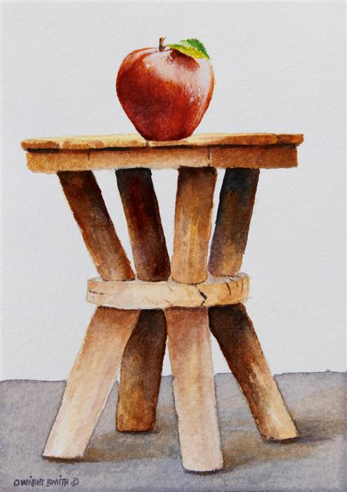 Discover Original Art by Dwight Smith | Vintage Stool with Apple watercolor painting | Art for Sale Online at UGallery
