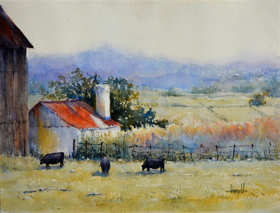 Discover Original Art by Judy Mudd | Summer Graze watercolor painting | Art for Sale Online at UGallery