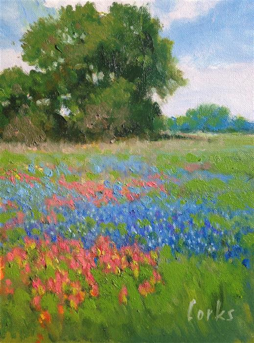 Discover Original Art by David Forks | Bluebonnets and Paintbrush oil painting | Art for Sale Online at UGallery