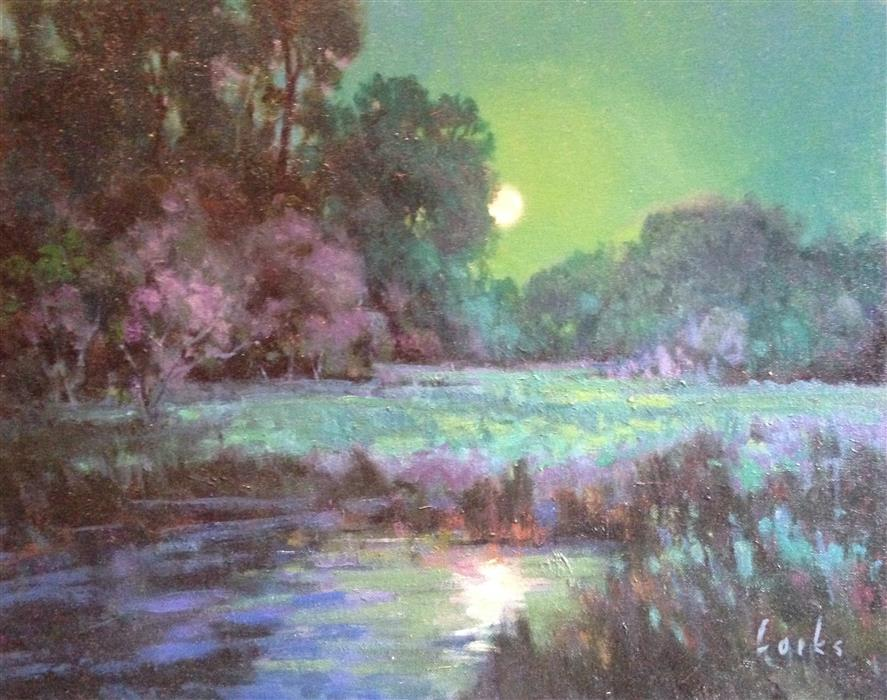 Discover Original Art by David Forks | Midnight Moon oil painting | Art for Sale Online at UGallery