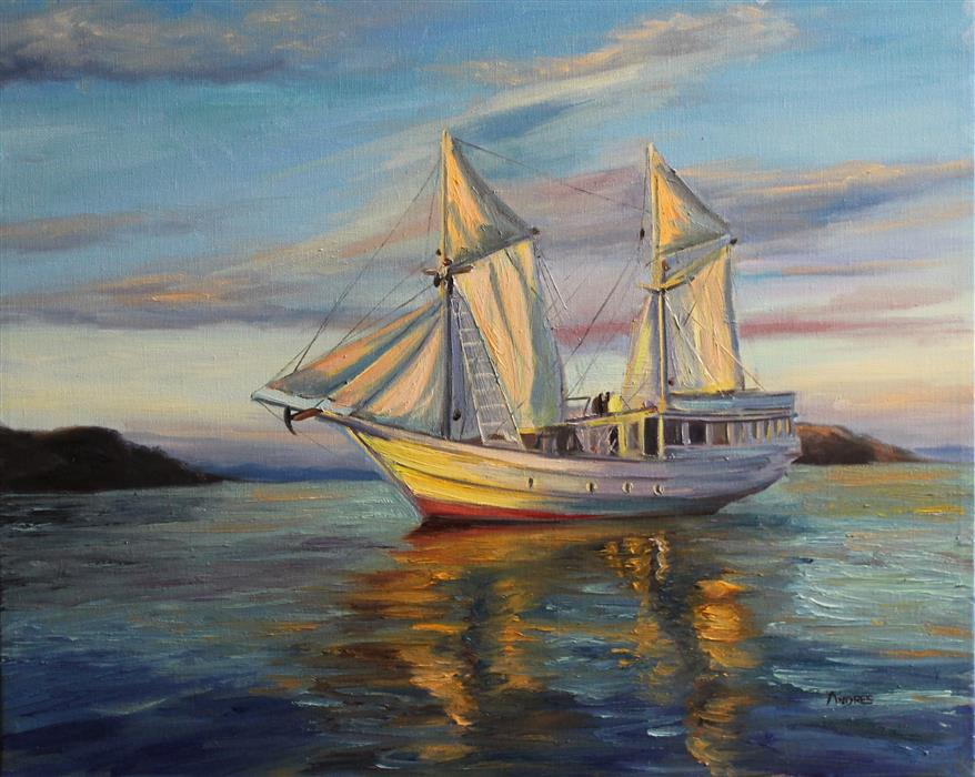 Discover Original Art by Andres Lopez | Sailing at Sunset oil painting | Art for Sale Online at UGallery