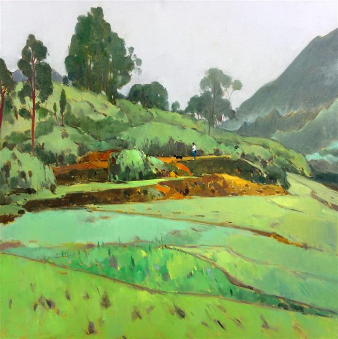 Discover Original Art by Jingshen You | Farmland in Spring 252 oil painting | Art for Sale Online at UGallery