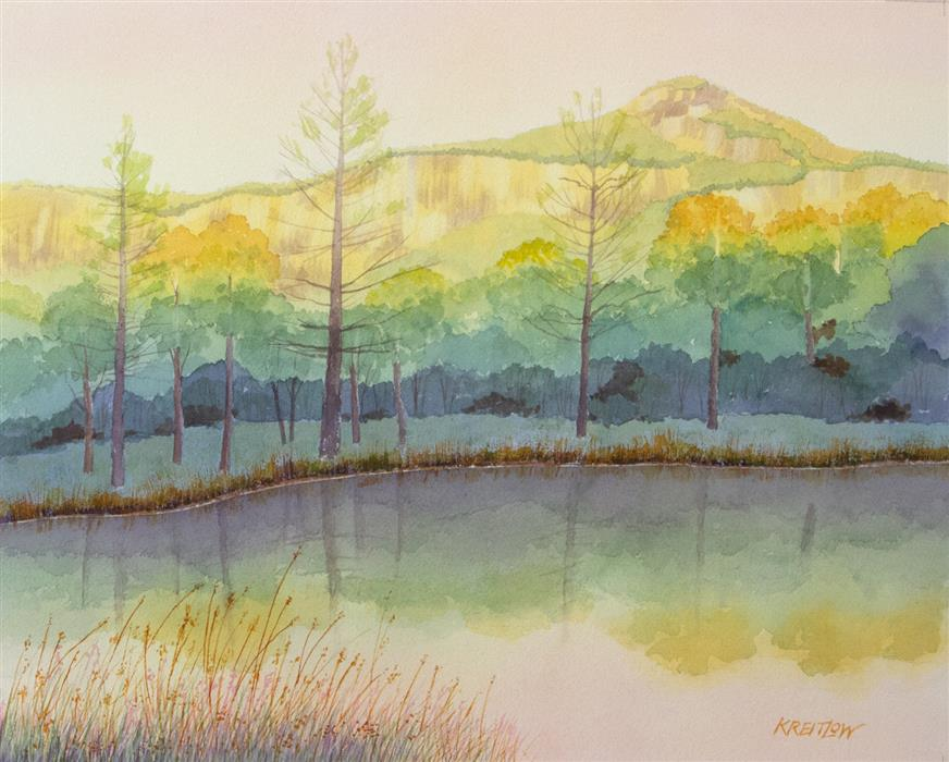 Discover Original Art by Bill Kreitlow | Whiteside Sunset watercolor painting | Art for Sale Online at UGallery
