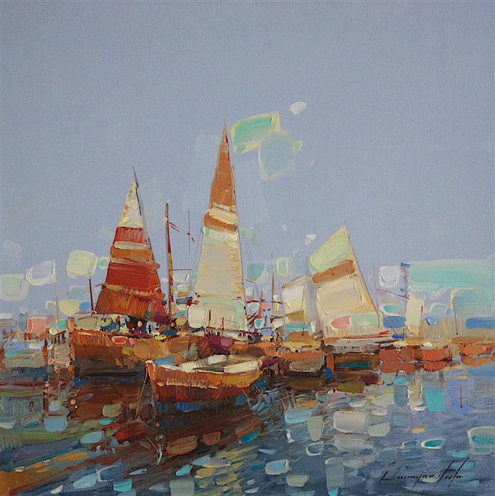 Discover Original Art by Vahe Yeremyan | Oceanside Harbor oil painting | Art for Sale Online at UGallery