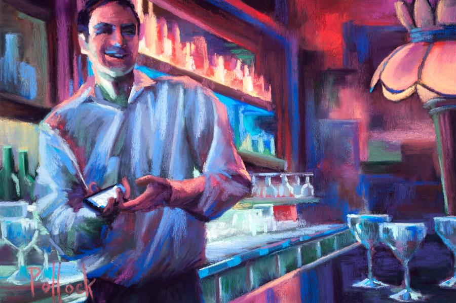 Discover Original Art by Sarah Pollock | Barkeep, London pastel artwork | Art for Sale Online at UGallery