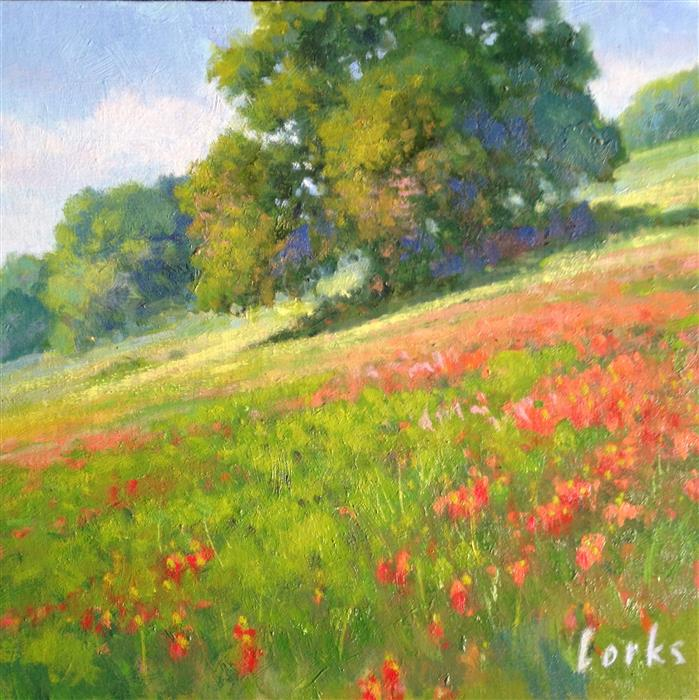 Discover Original Art by David Forks | Indian Paintbrush Gonzales County oil painting | Art for Sale Online at UGallery