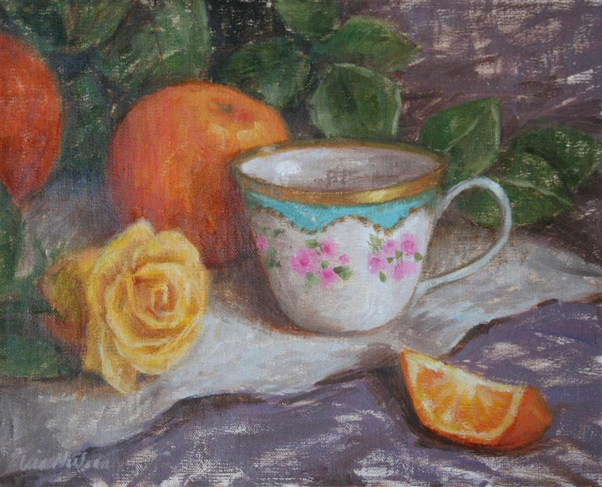 Discover Original Art by Lisa Nielsen | Tea and Citrus oil painting | Art for Sale Online at UGallery