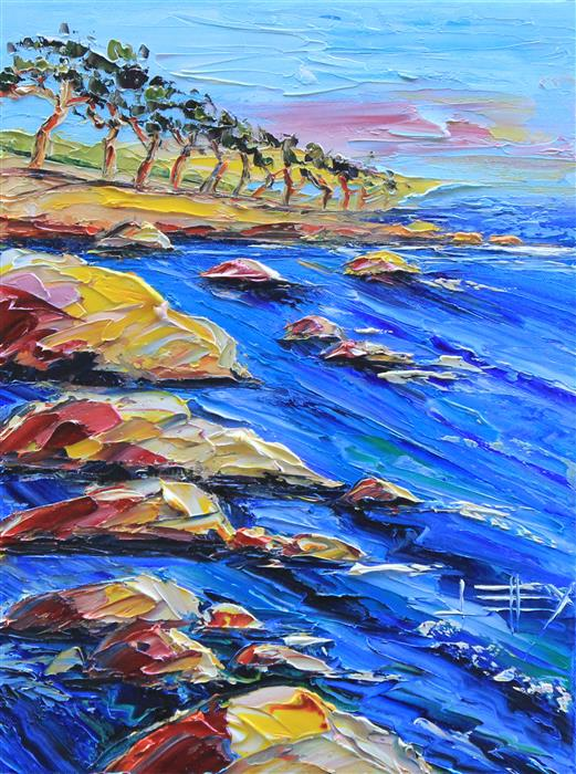 Discover Original Art by Lisa Elley | Monterey Dusk oil painting | Art for Sale Online at UGallery